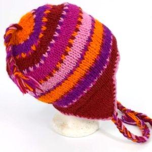 100% Wool Fleece Lined Warm Knit Ski Trapper Hat